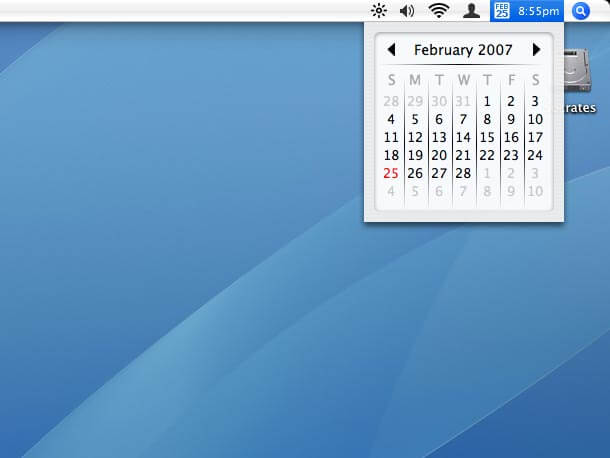 Mac: Clock and Calendar in Menu Bar