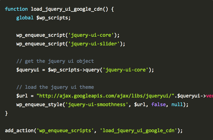WordPress: Load jQuery UI Theme from Google CDN